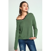 Lovely Trendy Parchwork Green Cotton Sweaters