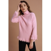 Lovely Casual Tassel Design Pink Sweaters