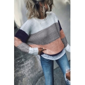 Lovely Chic Patchwork Dark Blue Acrylic Sweaters