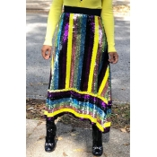 Lovely Trendy Patchwork Yellow Sequined Ankle Leng