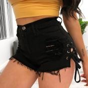 Lovely Casual Broken Holes Black Denim Shorts