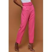 Lovely Trendy Straight Rose Red Blending Pants(Wit