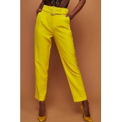 Lovely Trendy Straight Yellow Blending Pants(With