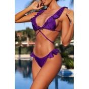 Lovely Casual Flounce Design Purple Two-piece Swim
