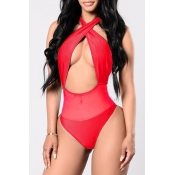 Lovely Sexy Patchwork Red One-piece Swimwears