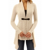 Lovely Trendy Patchwork Khaki Cardigan Sweaters