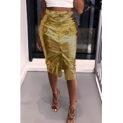 Lovely Casual Buttons Gold PU Knee Length Skirts