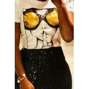 Lovely Chic Sequined Decorative White Blending T-shirt