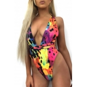 Lovely Sexy Printed Multicolor One-piece Swimwears