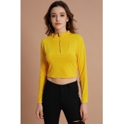 Lovely Casual Zipper Design Yellow Hoodies