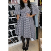 Lovely Casual Flounce Design Loose White Knee Length Dress