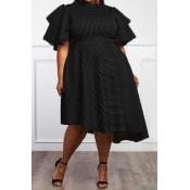 Lovely Casual Flounce Design Loose Black Knee Length Dress