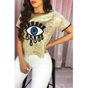 Lovely Trendy Patchwork Gold Sequined T-shirt