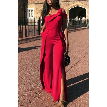 Lovely Trendy Slit  Red Blending One-piece Jumpsuit