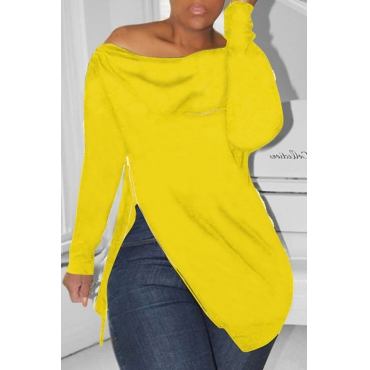 Lovely Casual Irregular Zipper Yellow Hoodies
