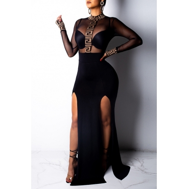 Lovely Sexy See-through Black Knitting  Trailing Dress