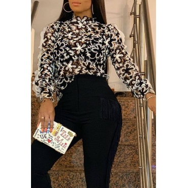 Lovely Sweet  Flounce Design Black And White Blouses&Shirts
