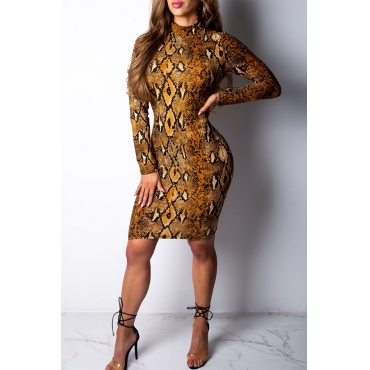 Lovely Sexy Snakeskin Printed   Yellow Twilled Satin  Knee Length Dress