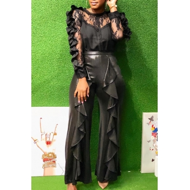 Lovely Trendy Flounce Design Black Lace Two-piece Pants Set