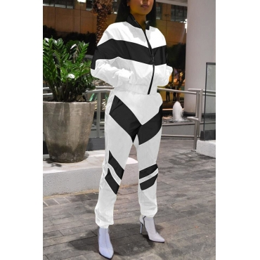 Lovely Casual Black and White Patchwork Two-piece Pants Set
