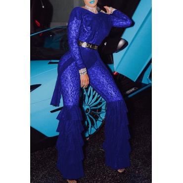 Lovely Trendy Flounce Design Blue Lace One-piece  Jumpsuit(Without Belt ,Not Including Underwear)