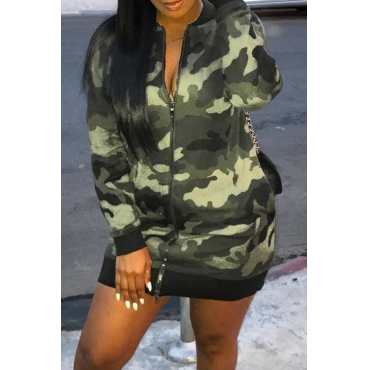 Lovely Casual Printed Army Green Twilled Satin Mini Dress