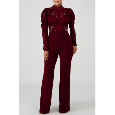 Lovely Trendy Hollowed-out Wine Red Blending One-piece Jumpsuit
