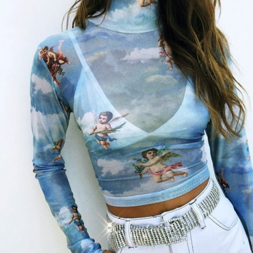 Lovely Trendy Printed Multicolor T-shirt(Without Bra)