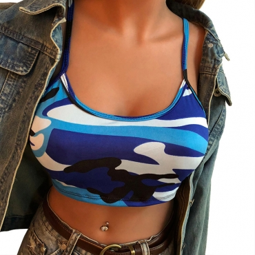 Lovely Trendy Camouflage Printed Blue Cotton Blends Tank Top