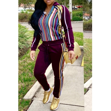Lovely Casual Striped Blackish Wine Red Blending Two-piece Pants Set