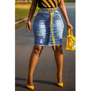 Lovely Casual Broken Holes Blue Denim Knee Length Skirts(Without Belt)