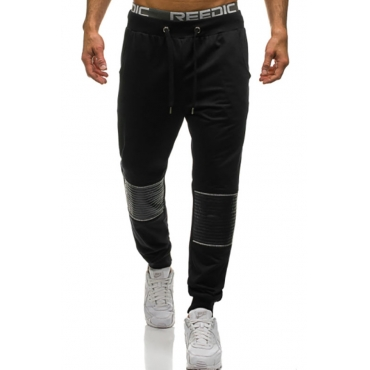 Lovely Casual Patchwork Black Blending Pants