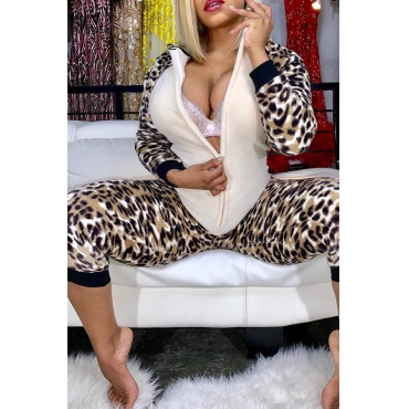 Lovely Casual Patchwork Leopard One-piece Jumpsuit