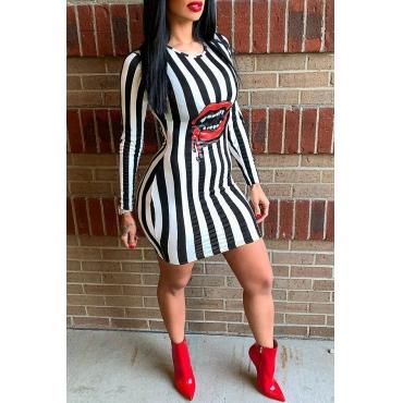Lovely Trendy Striped Black And White Blending Mini Dress
