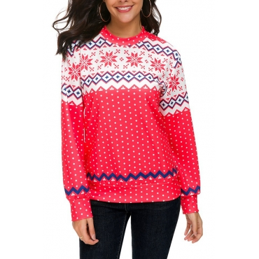 Lovely Casual Long Sleeves Red T-shirt