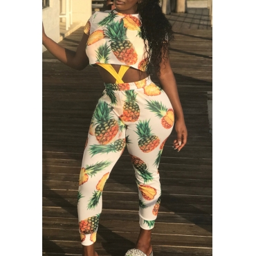 Lovely Sweet Printed White Two-piece Pants Set