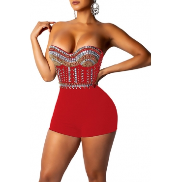 Lovely Sexy Dew Shoulder Red One-piece Rompers