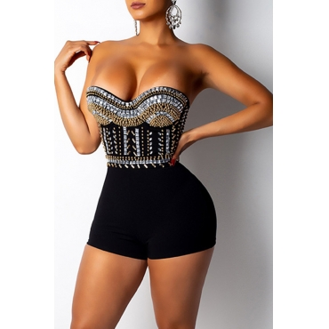 Lovely Sexy Dew Shoulder Black One-piece Rompers