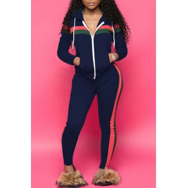 Lovely Casual Striped  Hooded Collar Navy Blue Blending Two-piece Pants Set