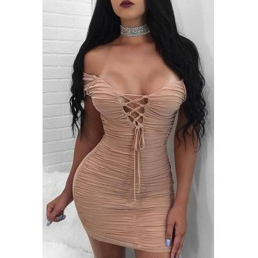Lovely Sexy Skinny Lace-up Khaki Blending Mini Dress