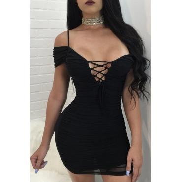 Lovely Sexy Skinny Lace-up Black Blending Mini Dress