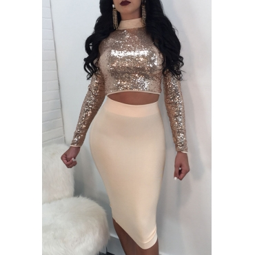 Lovely Sexy Hollowed-out Gold Gauze Two-piece Skirt Set