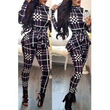 Lovely Casual Long Sleeves Plaids Purple One-piece Jumpsuit