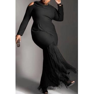Lovely Trendy Tassel Design  Black Twilled Satin Ankle Length Dress