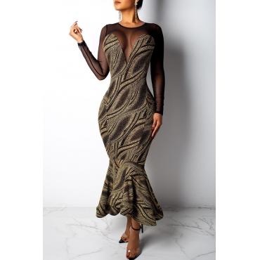Lovely Trendy Flounce Design Black Ankle Length Dress