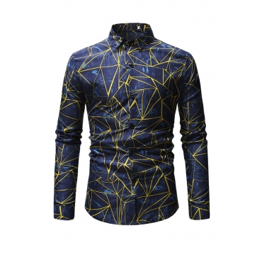 Lovely Casual Printed Blue Cotton Blends Shirt