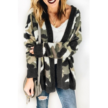 Lovely Casual Camouflage Grey Cardigan Sweaters