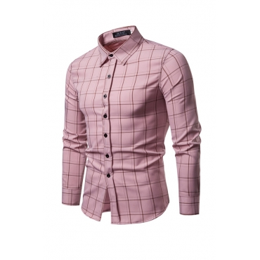 Lovely Trendy Grids Printed Pink Cotton Blends Shirt