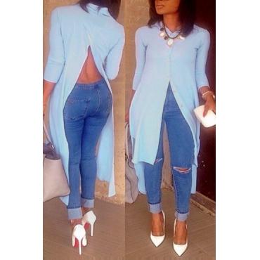 Encantador Y Moderno Cuello De Cobertura Mangas Largas Dividido Blusa Blusa De Algodón Azul Claro