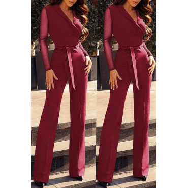 Lovely Casual Patchwork  Wine Red Blending One-piece Jumpsuit